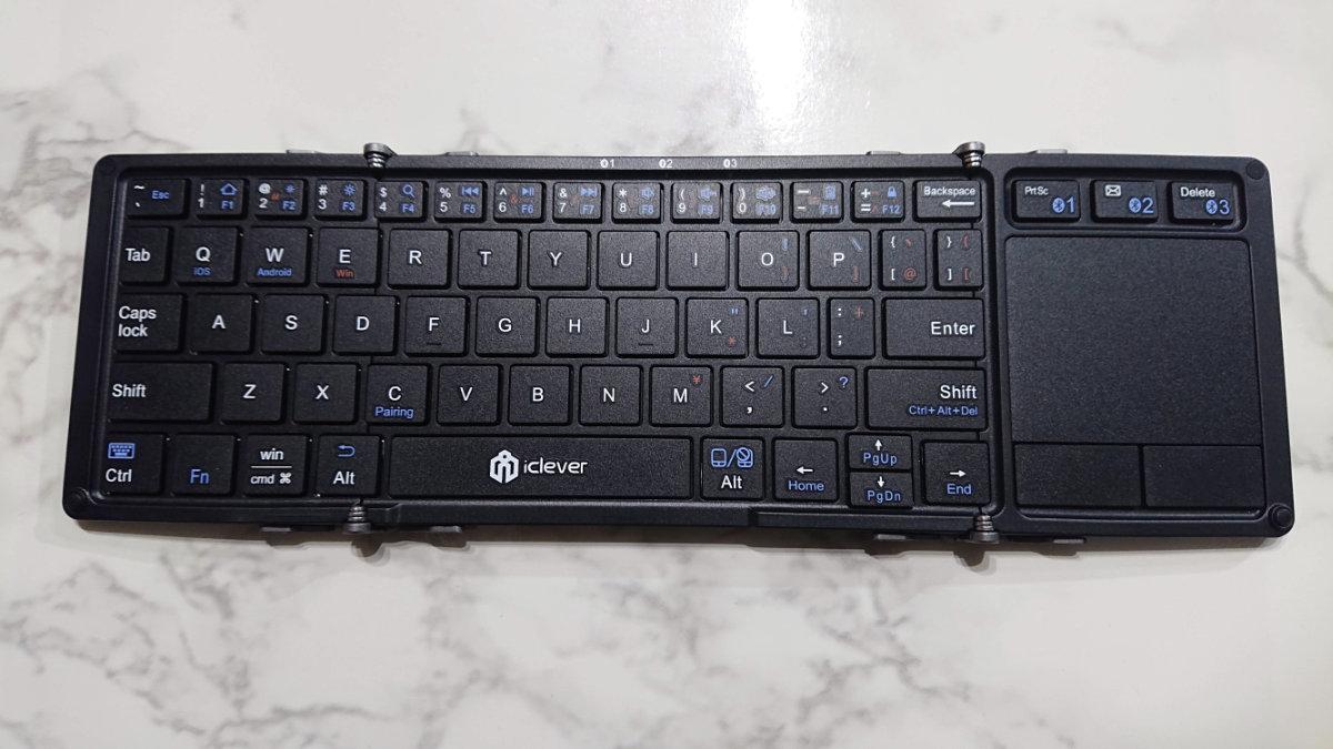 折りたたみ式タッチパッド付きBluetoothモバイルキーボード『IC-BK08』
